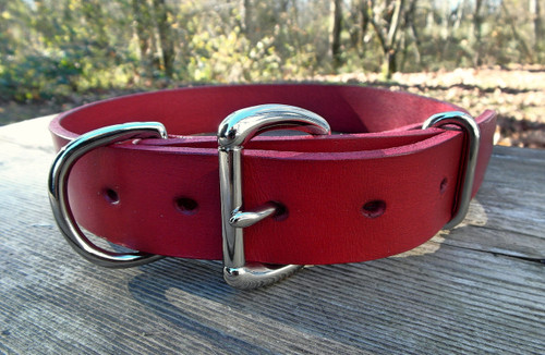 Red leather dog collar
