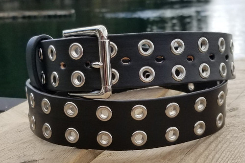 Custom Leather Belt with Steel Eyelets