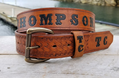 Personalized Leather Belt Engraved with Name and Initials