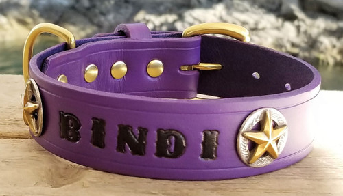 Purple leather dog collar 1
