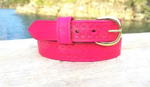 Hot pink leather belt for women