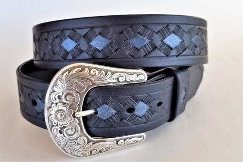 Western Blue Leather Belt with Silver Buckle