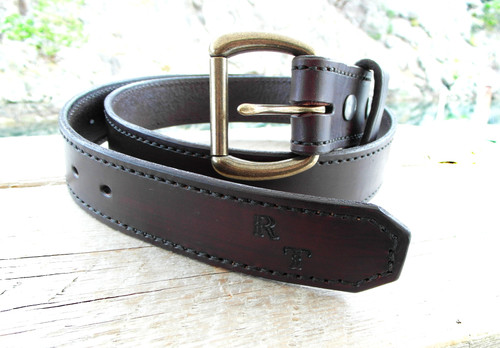 Saddle Stitched Belt with initials