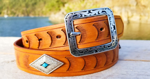Ladies Leather Belt with Turquoise conchos
