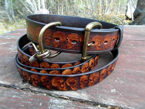 Dog collar and leash with skulls