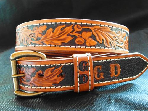 Oak leaf western leather belt