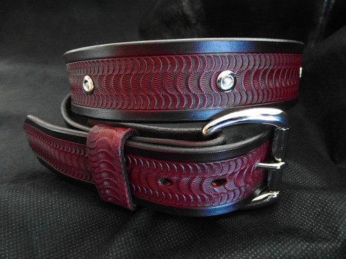 Studded leather belt with tooling and stainless buckle