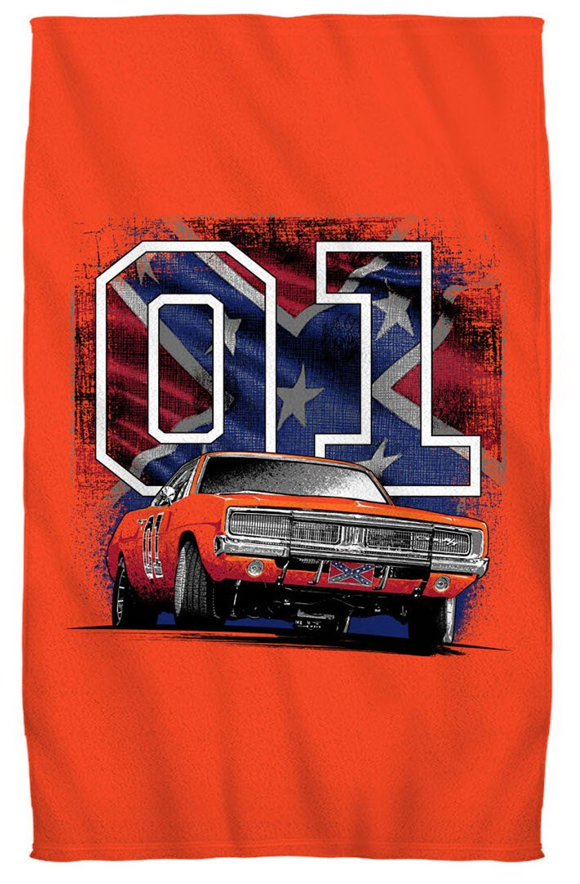 """Cooter's """"General Lee 01 W/ Flag"""" Beach Towel"""