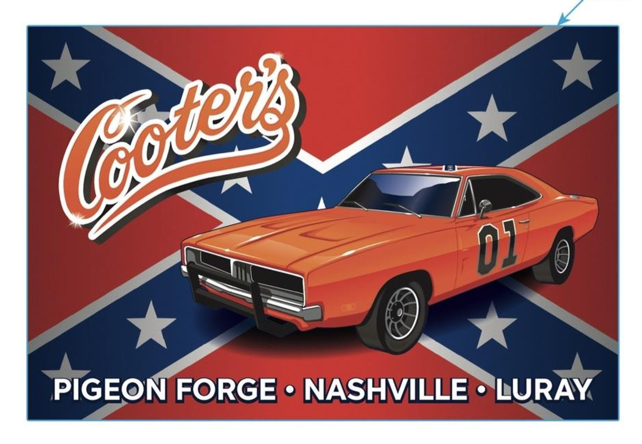 Sticker Cooter's General Lee With Rebel Flag