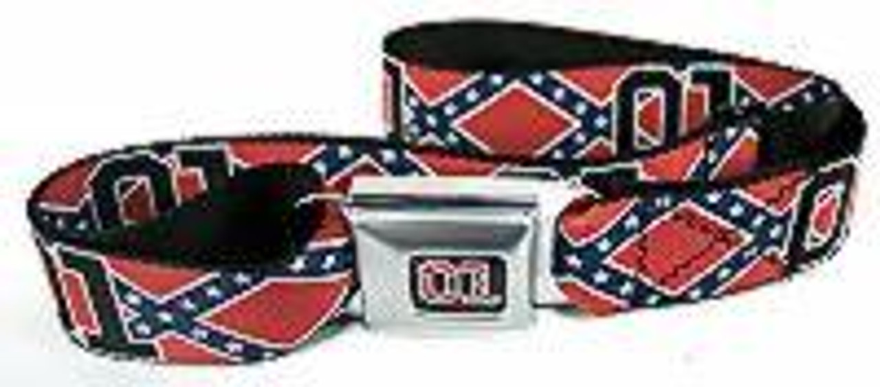 Confederate Flag 01 Red Seatbelt Style Belt