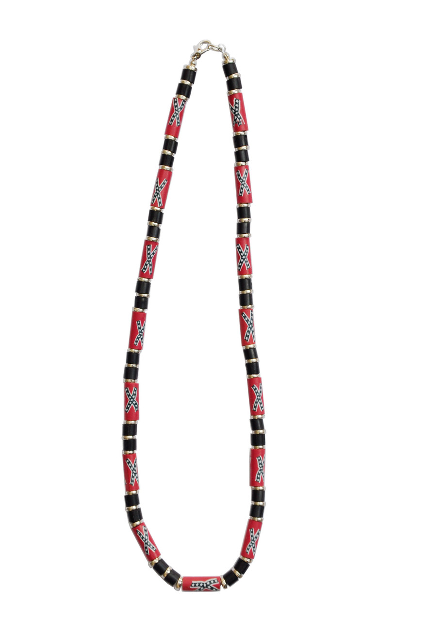 Confederate Flag long Beads in Middle of 3 Black Round Beads each side