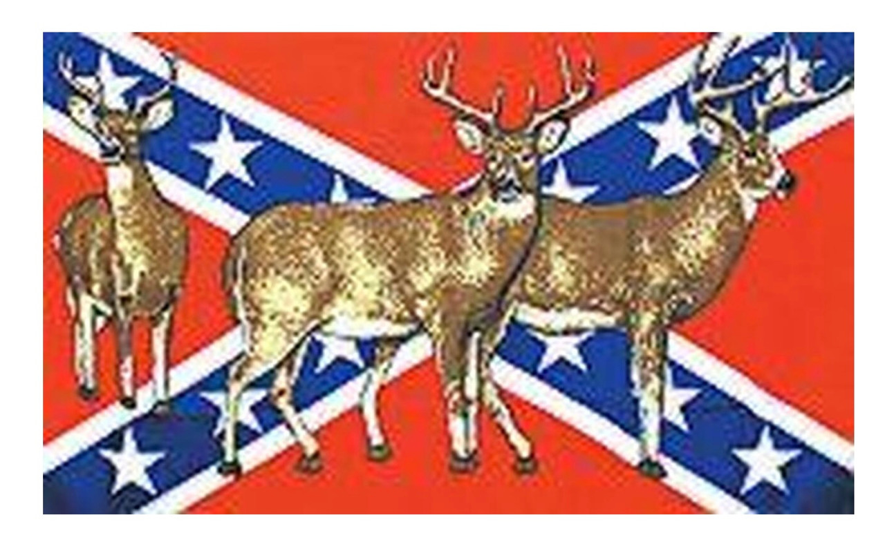 Deer - Confederate Flag 3x5 Polyester