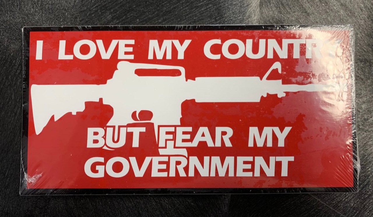 Love My Country But Fear My Government Bumper Sticker