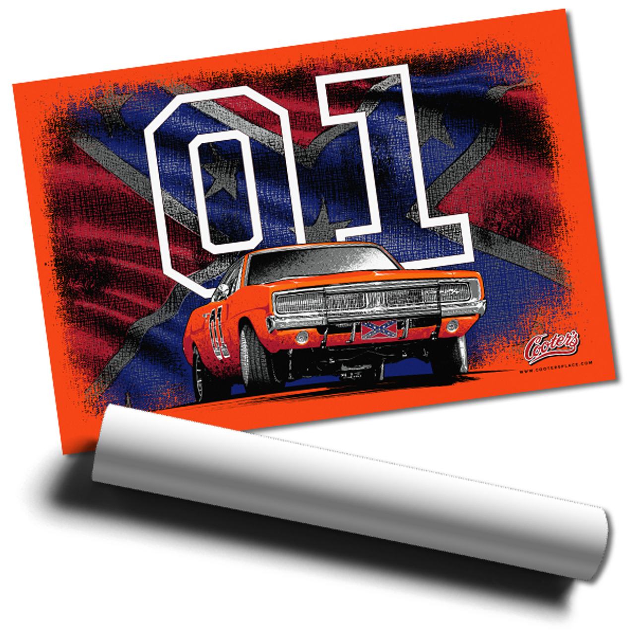 General Lee w/Flag Wall Poster 36x24