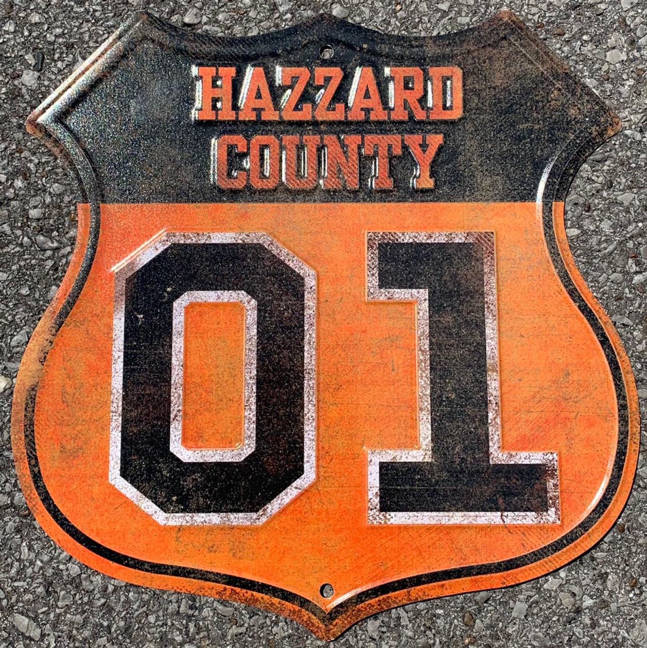 Rustic Hazzard County Road Metal Sign