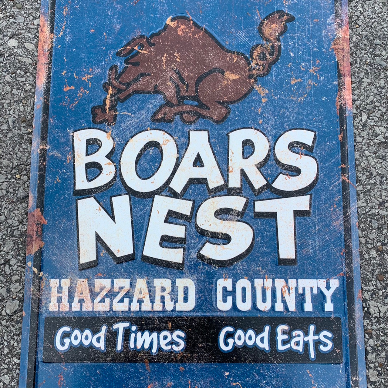 Rustic Boars Nest Metal Parking Sign