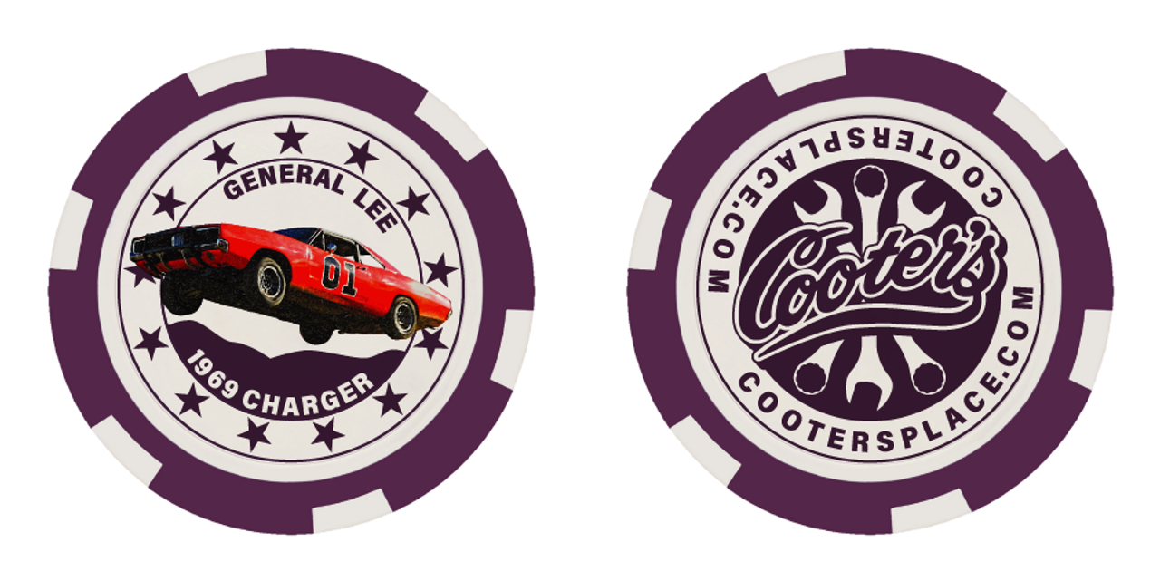 Cooter's Poker Chip - General Lee - Purple