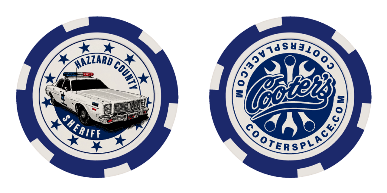 Cooter's Poker Chip - Hazzard County Sheriff - Blue