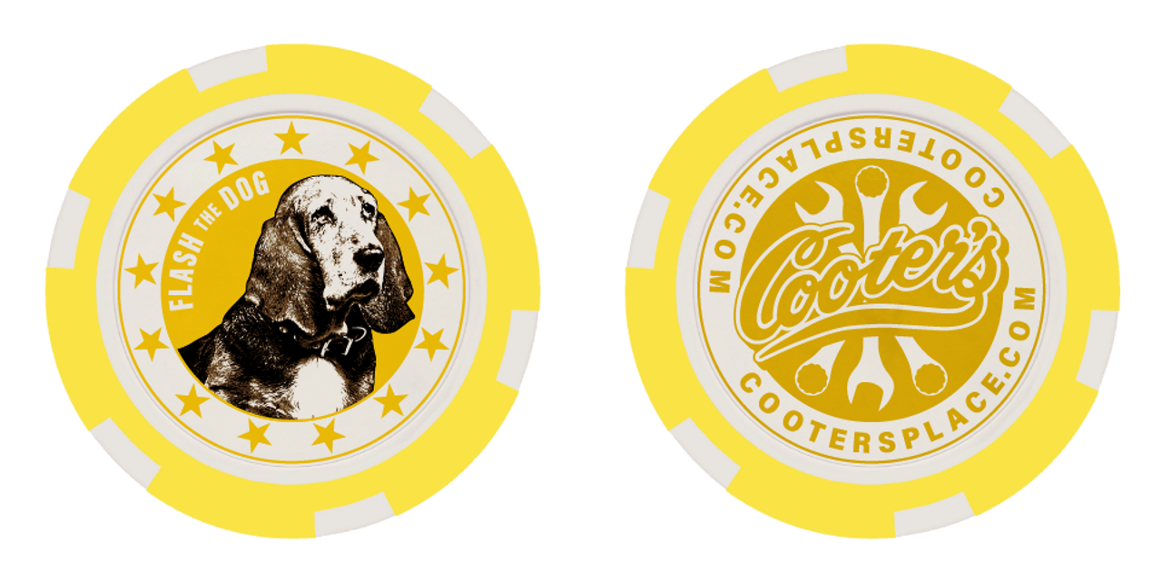 Cooter's Poker Chip - Flash the Dog - Yellow
