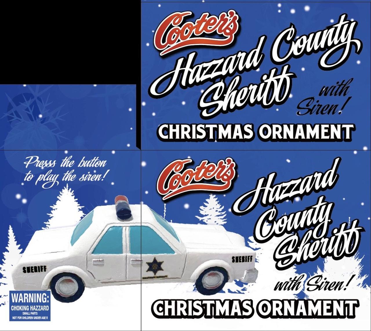 Hazzard County Sheriff Christmas Ornament W/Police Siren Sound Button