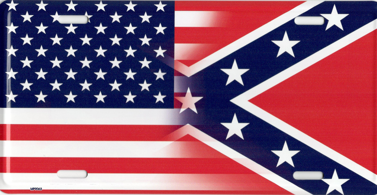 Blended USA and Confederate Flag License Plate