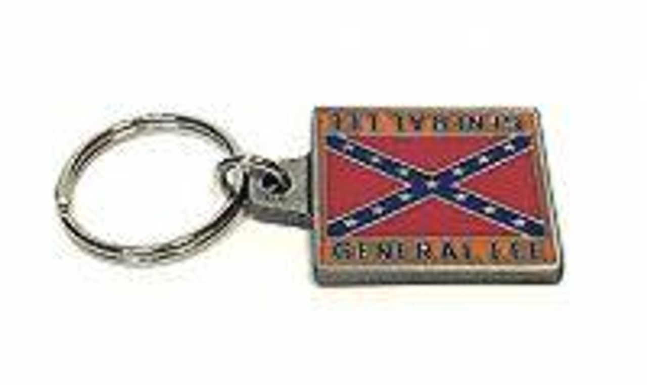 Metal Keychain Confederate With Flag General Lee