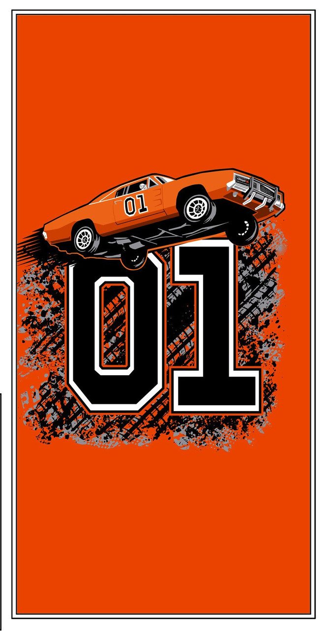 """Cooter's """"General Lee Flying 01"""" Beach Towel"""