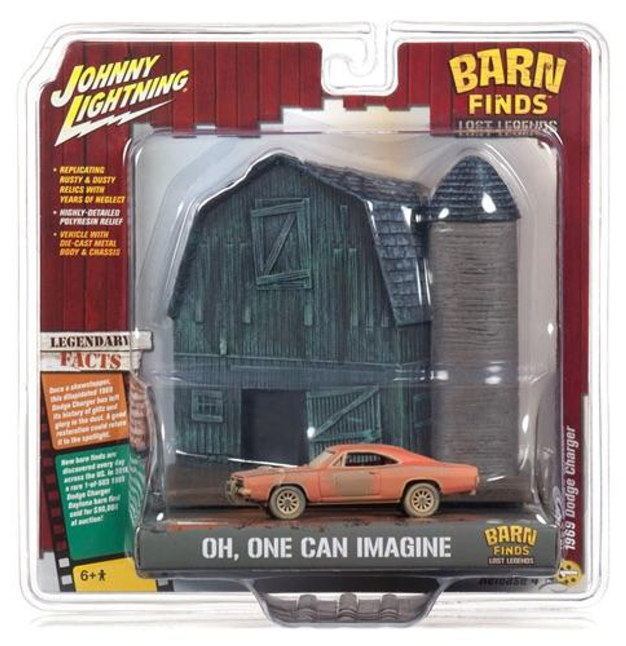 "1:64 SCALE 1969 DODGE CHARGER JOHNNY LIGHTNING ""BARN FINDS"" W/BARN FAÇADE"
