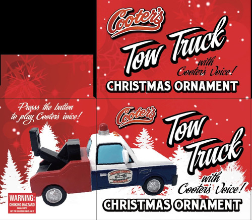 """Cooter's Tow Truck Christmas Ornament With Sound Button W/Cooter doing """"Breaker One, Breaker One"""""""
