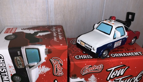 "Cooter's Tow Truck Christmas Ornament With Sound Button W/Cooter doing ""Breaker One, Breaker One"""