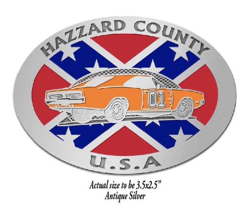 Hazzard County General Lee w/Flag Belt Buckle