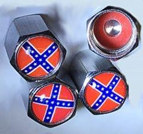 VALVE STEM COVER CONFEDERATE FLAG (SET OF 4)