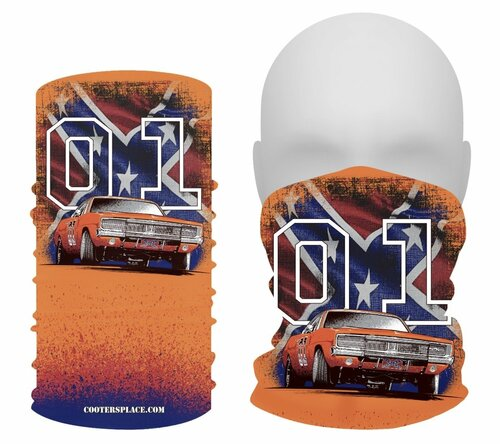 General Lee W/Flag GAITER Face Shield Made in USA