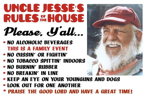 Postcard Uncle Jesse's House Rules