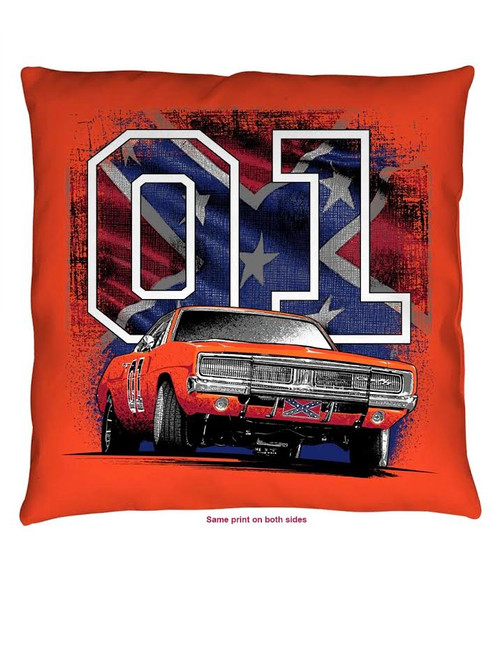 "Throw Pillow Cooter's ""General Lee 01 W/Flag"""