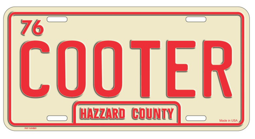Cream/Red Cooter License Plate