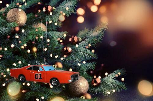 General Lee Christmas Ornament W/Dixie Horn