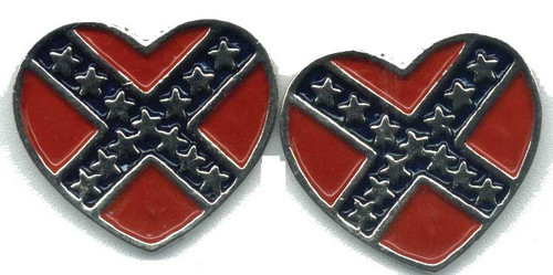 Confederate Flag Post Heart Earrings