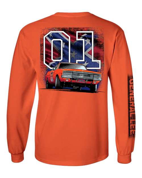 General Lee with Flag Long Sleeve T-Shirt