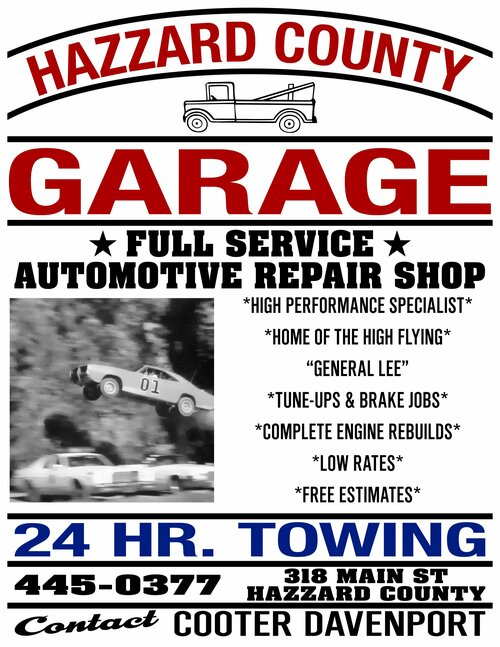 Hazzard County Garage Service & Repair Poster Print (22x17)