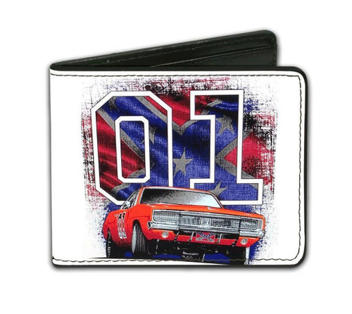 "Cooter's ""General Lee W/ Rebel Flag 01"" Wallet (White)"