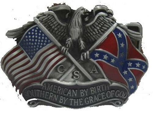 American By Birth Southern By Grace Of God Confederate Belt Buckle