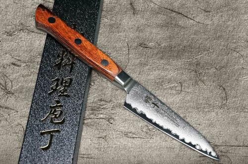 Tamahagane Kyoto 63 Layer-Damascus Wood Handle Japanese Chefs Paring Knife 90mm