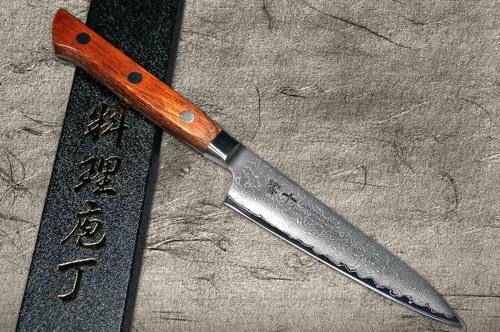 Tamahagane Kyoto 63 Layer-Damascus Wood Handle Japanese Chefs Petty KnifeUtility 120mm