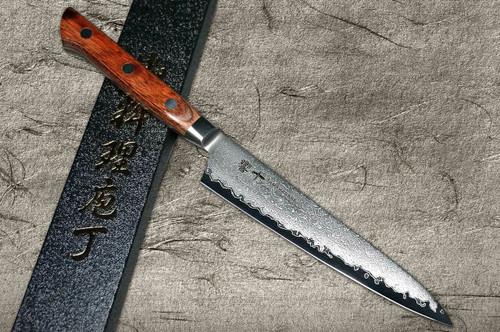 Tamahagane Kyoto 63 Layer-Damascus Wood Handle Japanese Chefs Petty KnifeUtility 150mm