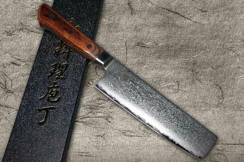 Tamahagane Kyoto 63 Layer-Damascus Wood Handle Japanese Chefs NakiriVegetable 160mm
