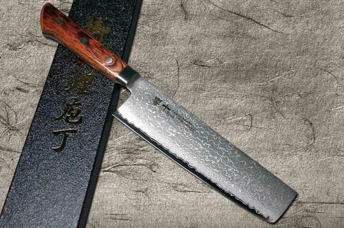 Tamahagane Kyoto 63 Layer-Damascus Wood Handle Japanese Chefs NakiriVegetable 180mm