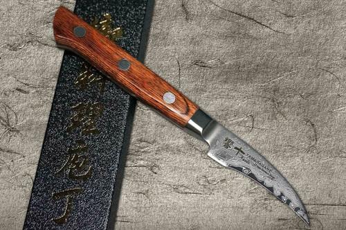 Tamahagane Kyoto 63 Layer-Damascus Wood Handle Japanese Chefs Peeling Knife 70mm