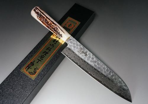 Sakai Takayuki 45-Layer AUS10 Damascus DHW Japanese Chefs Santoku Knife 180mm with White Antler Handle