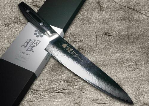 Yaxell YO-U 37-Layer VG-10 Damascus Hammered Japanese Chefs Gyuto Knife 210mm